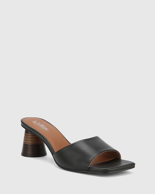 Kylee Black Leather Square Toe Block Heel Sandal.