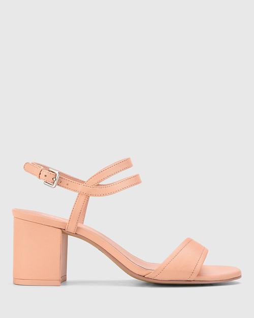Neoma Pastel Peach Leather Open Toe Block Heel Sandal. & Wittner & Wittner Shoes