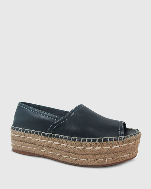 Elyse French Navy Leather Espadrille Flatform
