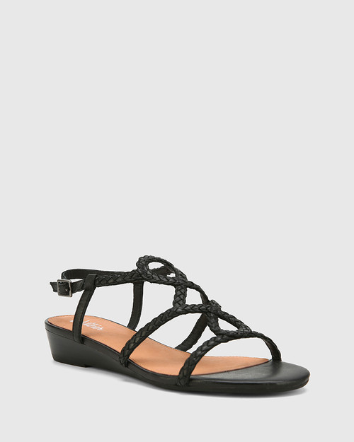 Tinsley Black Leather Low Wedge Flat Sandal.