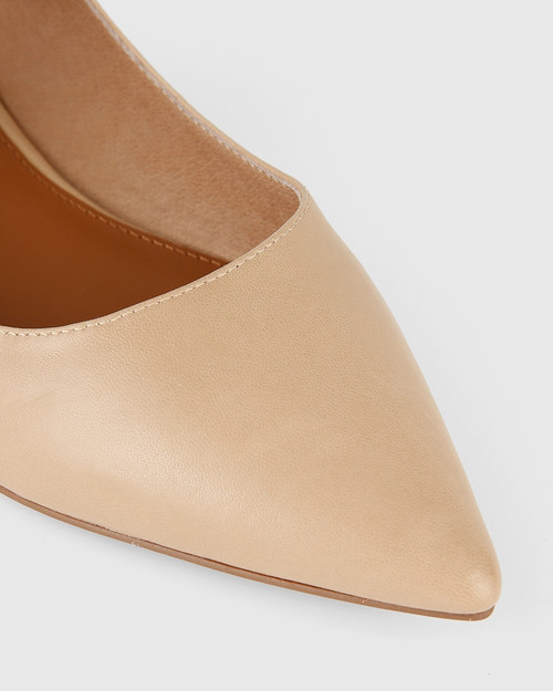 Manda Nude Leather Pointed Toe Flat