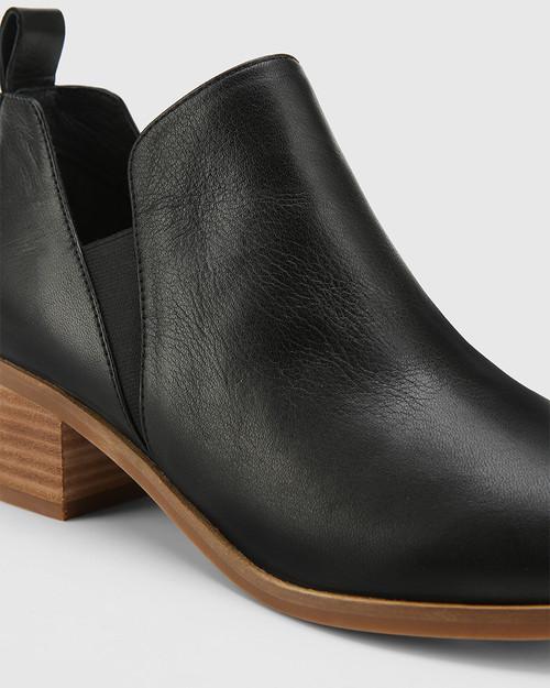 Ita Black Leather Block Heel Gusset Ankle Boot. & Wittner & Wittner Shoes