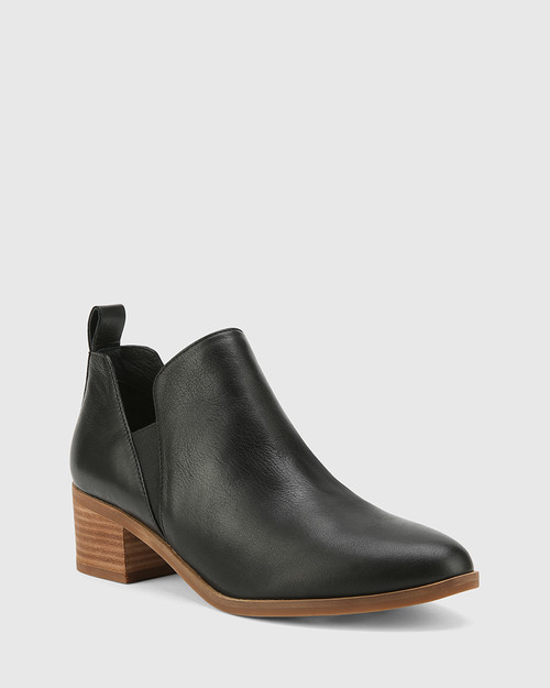 Ita Black Leather Block Heel Gusset Ankle Boot.