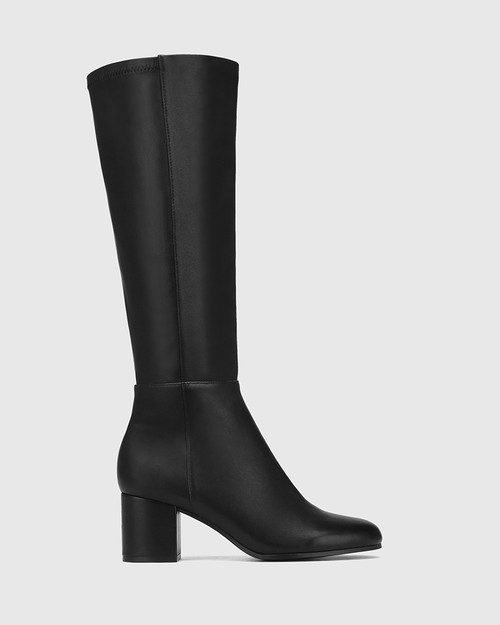 Louis Black Leather and Stretch Long Boot & Wittner & Wittner Shoes