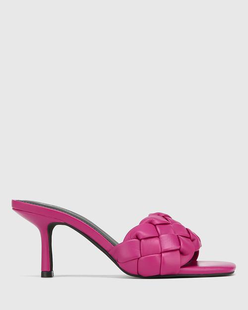 Combs Magenta Woven Leather Stiletto Heel Sandal
