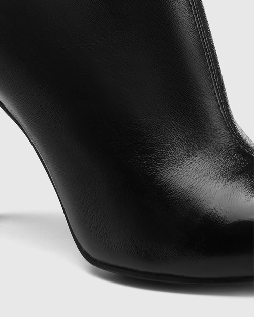 Havina Black Patent Leather Pointed Toe Ankle Boot