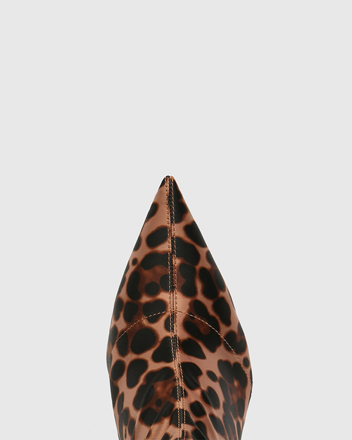 Qadira Leopard Stretch Textile Pointed Toe Ankle Boot