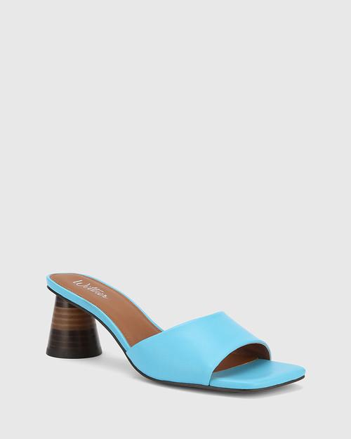 Kylee Aqua Blue Leather Square Toe Block Heel Sandal.