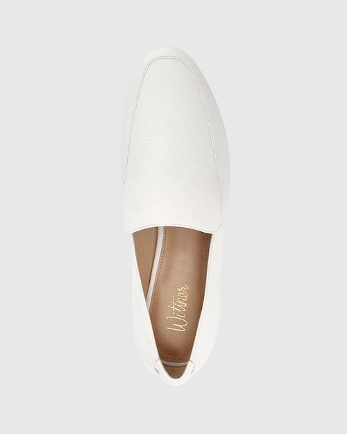 Chia White Leather Round Toe Loafer. & Wittner & Wittner Shoes