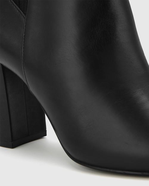 Stellar Black Leather Elasticated Calf Block Heel Knee High Boot. & Wittner & Wittner Shoes