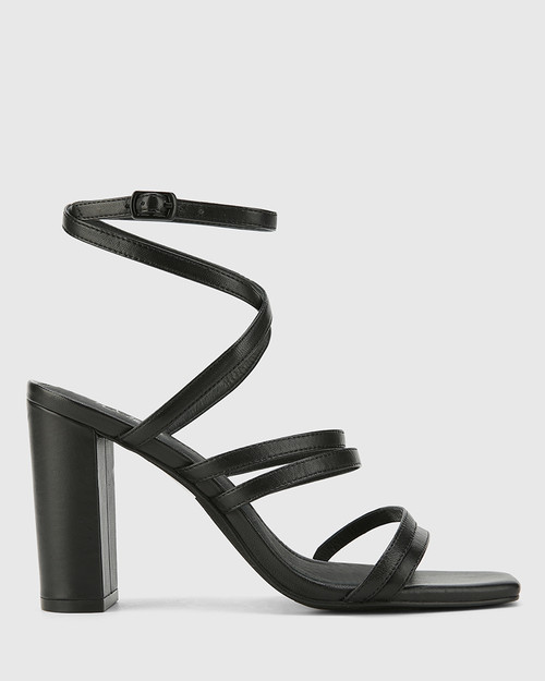Radical Black Leather Block Heeled Strappy Sandal. & Wittner & Wittner Shoes