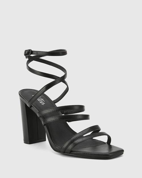 Radical Black Leather Block Heeled Strappy Sandal.