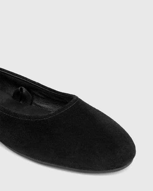 Cutie Black Suede Leather Ballet Flat & Wittner & Wittner Shoes