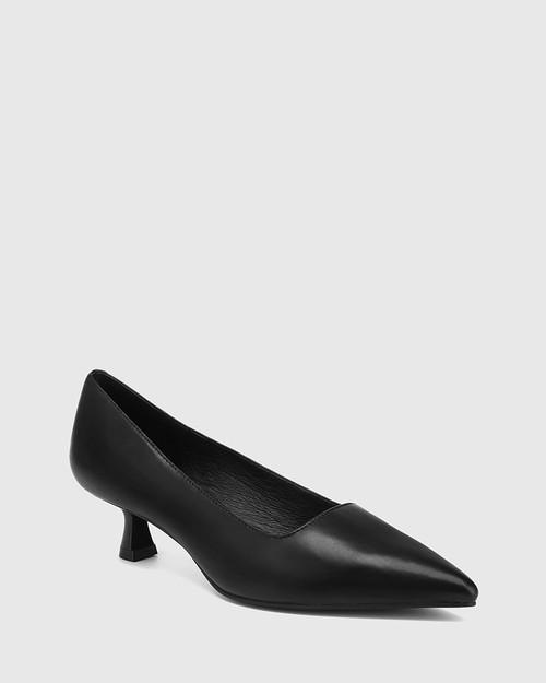 Gavina Black Leather Kitten Heel Pump