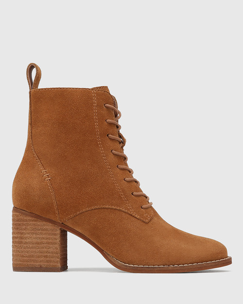 Keller Tobacco Suede Lace Up Ankle Boot & Wittner & Wittner Shoes