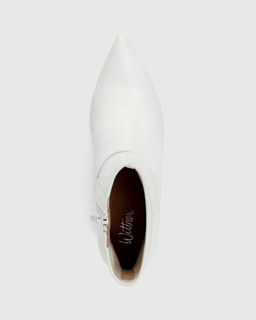 Gianella White Leather And Stretch Ankle Boot & Wittner & Wittner Shoes