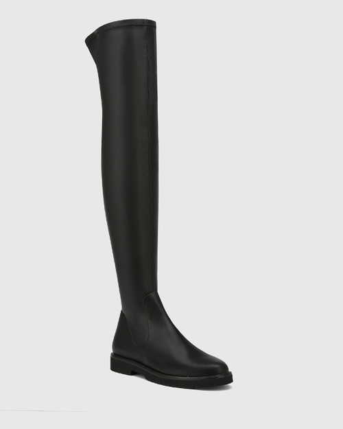 Dalbey Black Leather And Stretch Over The Knee Boot