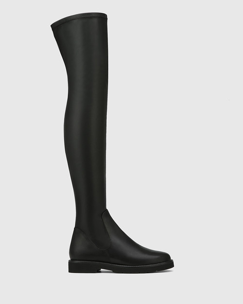 Dalbey Black Leather And Stretch Over The Knee Boot & Wittner & Wittner Shoes