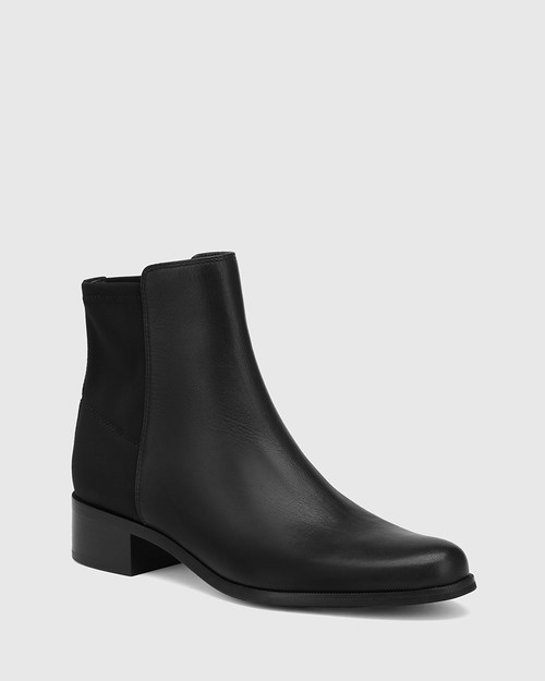 Gazella Black Leather and Neoprene Ankle Boot