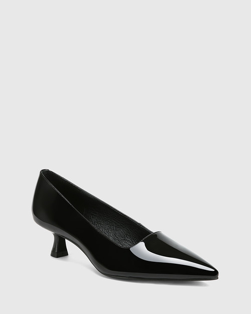 Gavina Black Patent Leather Kitten Heel Pump