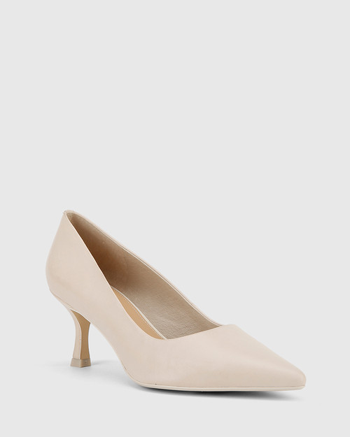 Daiko Ivory Leather Stiletto Heel Point Toe