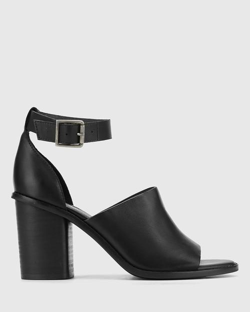 Fig Black Leather Block Heel Sandal. & Wittner & Wittner Shoes