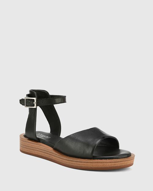 Eaves Black Leather Open Toe Platform Sandal.