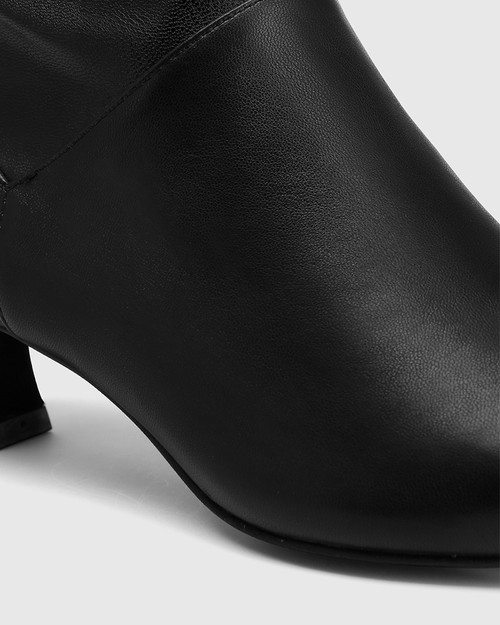 Gianella Black Leather And Stretch Ankle Boot & Wittner & Wittner Shoes