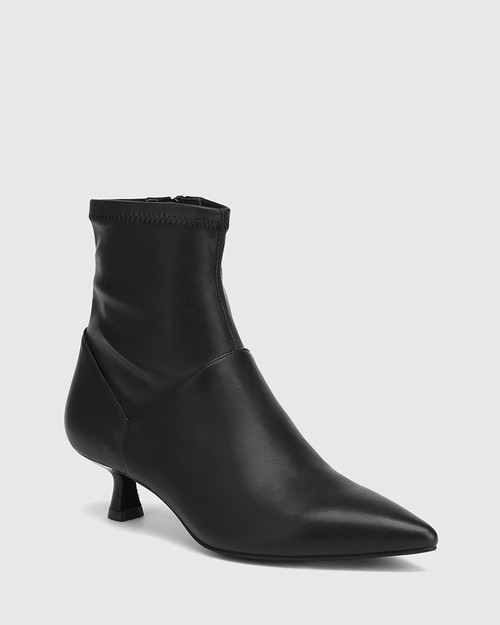 Gianella Black Leather And Stretch Ankle Boot