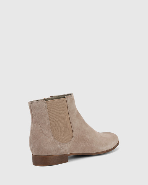 Daley Stone Suede Round Toe Double Gusset Ankle Boot.