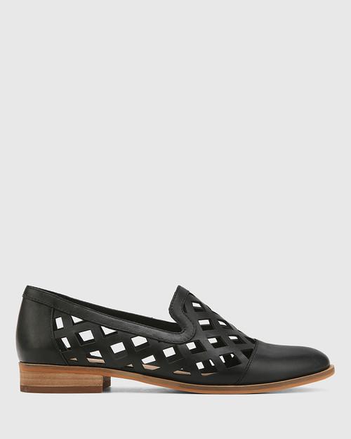 Heeva Black Nappa Leather Almond Toe Flat. & Wittner & Wittner Shoes