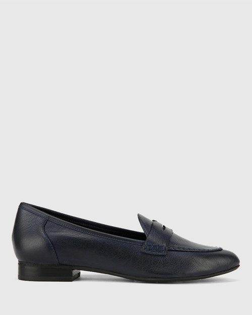 Austin Navy Leather Almond Toe Flat Penny Loafer. & Wittner & Wittner Shoes