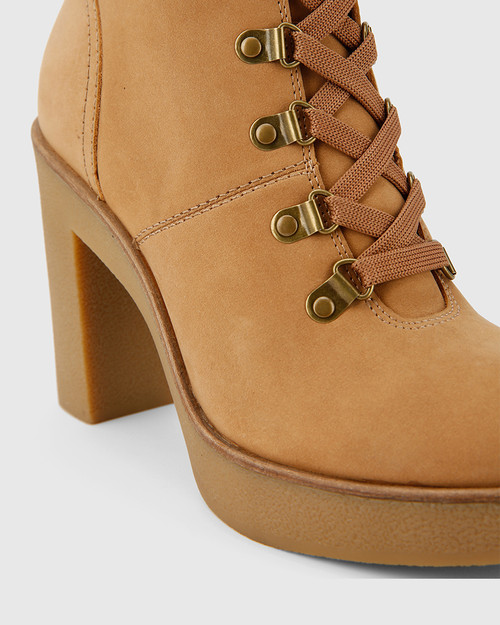 Vickie Caramel Leather Block Heel Lace Up Ankle Boot