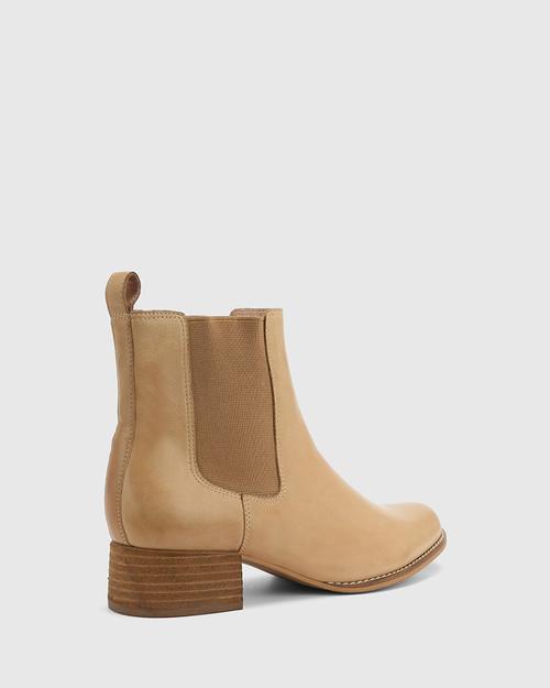 Baelans Camel Leather Block Heel Chelsea Ankle Boot. & Wittner & Wittner Shoes