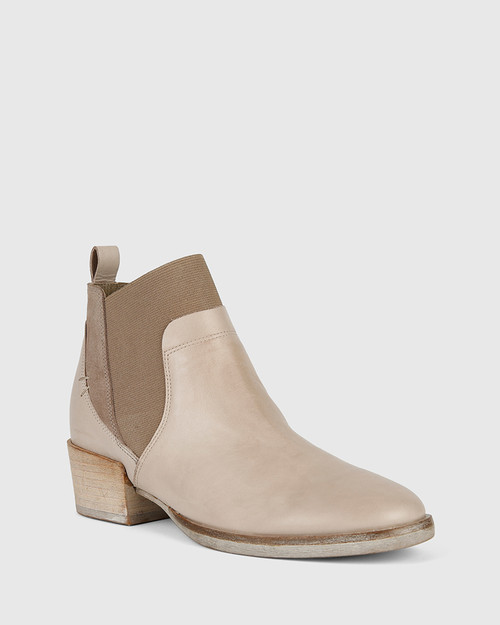 Memphis Grey Leather and Suede Gusset Ankle Boot.