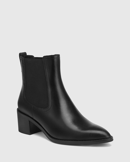 Jenae Black Leather Elastic Gusset Ankle Boot