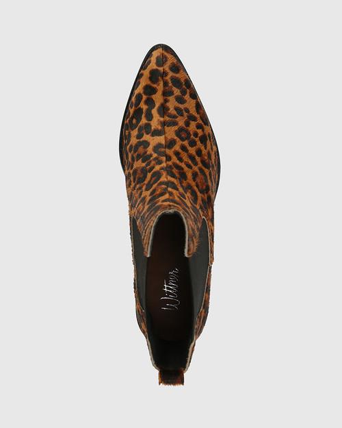 Jenae Leopard Print Leather Elastic Gusset Ankle Boot & Wittner & Wittner Shoes