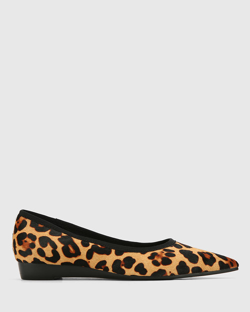 Almara Leopard Print Pony Hair Leather Pointed Toe Wedge Flat. & Wittner & Wittner Shoes