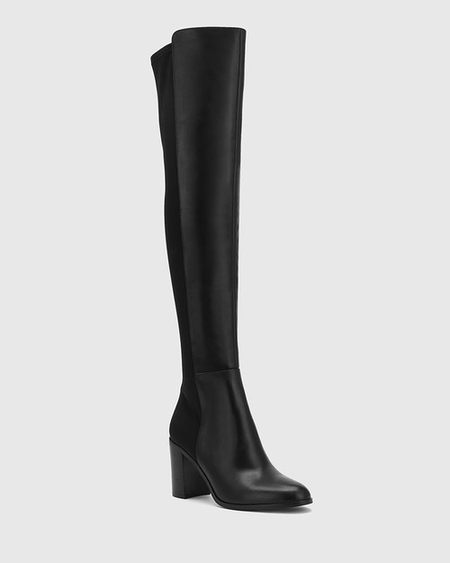 Ranen Black Leather and Neoprene Over The Knee Boot