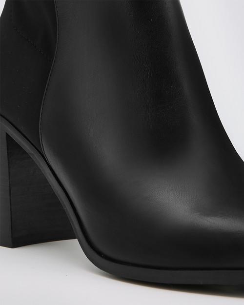 Ranen Black Leather and Neoprene Over The Knee Boot & Wittner & Wittner Shoes