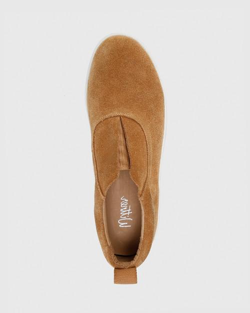 George Caramel Suede Leather Slip On Sneaker.