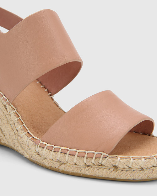 Vale Petal Pink Leather Open Toe Espadrille Wedge. & Wittner & Wittner Shoes