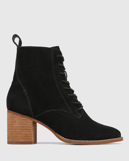 Keller Black Suede Lace Up Ankle Boot & Wittner & Wittner Shoes