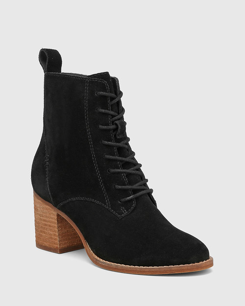 Keller Black Suede Lace Up Ankle Boot