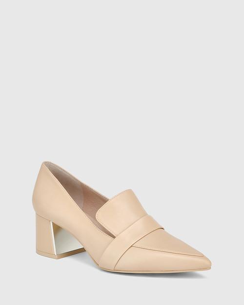 Orla Ecru Leather Metal Block Heel Loafer