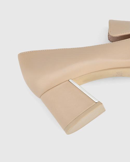 Orla Ecru Leather Metal Block Heel Loafer & Wittner & Wittner Shoes