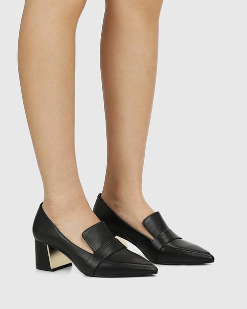 Orla Black Leather Metal Block Heel Loafer & Wittner & Wittner Shoes
