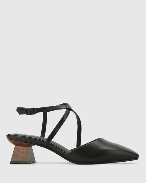 Granada Black Leather Square Toe Sculptured Heel.