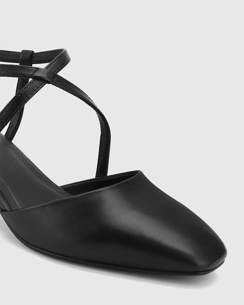 Granada Black Leather Square Toe Sculptured Heel.