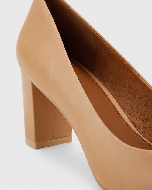 Nadori Black Patent and Honey Leather Round Toe Block Heel. & Wittner & Wittner Shoes